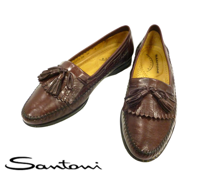 【Santoni】サントーニ フリンジタッセルローファー サイズ8 EE メンズシューズ イタリア製 ブラウン RC0122【中古】