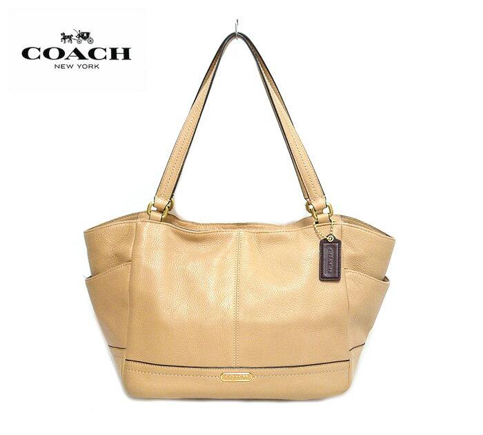 【COACH】コーチ パーカーレザー キャリーオール トートバッグ ショルダーバッグ F23284 本革 ベージュ×ゴールド金具 ON1171【中古】