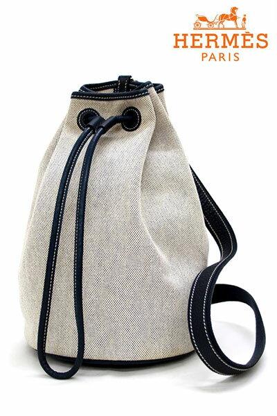 【HERMES】エルメスサックマリーン レシーフ PM  巾着型バッグ ショルダーバッグ キャンバス×レザー ナチュラル×紺【中古】
