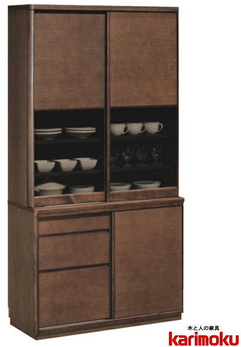 カリモクET3910/食器棚/100キッチンボード/ダイニングボード/ナチュラル/ブラウン/カップケース/皿収納/設置送料無料/日本製家具