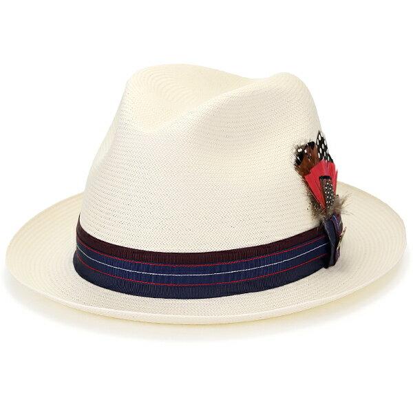 BILTMORE Guelph 春夏 中折れ シャンタン パナマ 帽子 ストローハット 高級 ハット ビルトモア 紫外線カット 耐水 麦わら帽子 リボン バッチ 羽根付き 大きいサイズあり アメリカ製 / アイボリー 白 ナチュラル [ fedora ] [ straw hat ] 敬老の日 ギフト プレゼント