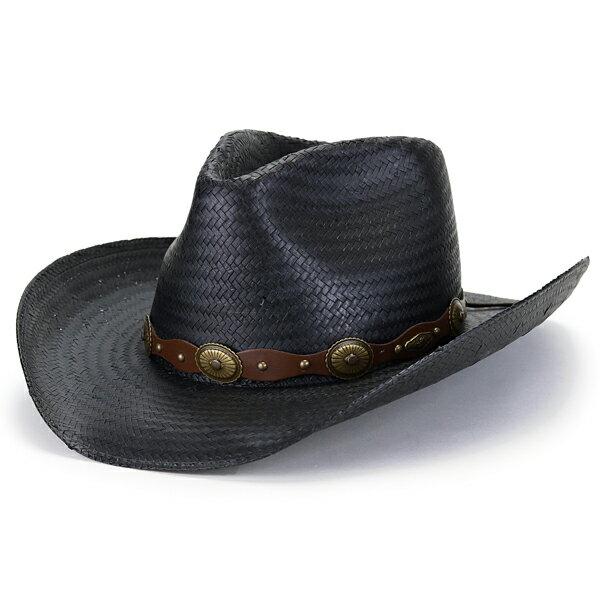 STETSON テンガロンハット ROXBURY ストローハット 春夏 メンズ つば広 大きいサイズ M L XL ステットソン カウボーイハット アメリカ製 ワイドブリム コンチョ 革ベルト 中折れ シャンタン ワイヤー入り つば ネイティブ / 黒 ブラック [ cowboy hat ] [ straw hat ]