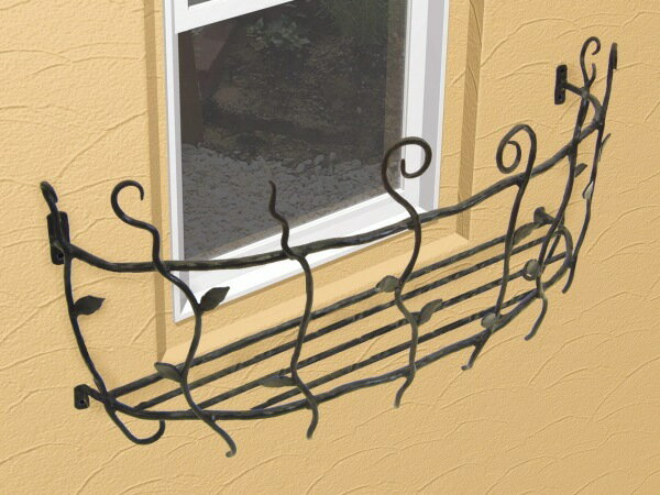 【ポイント最大8倍~9/25 9:59まで】 フラワーボックス 壁飾り ロートアイアンフラワーボックス(幅535mm)オリジナル 壁飾り  窓手すり  エクステリア 防犯