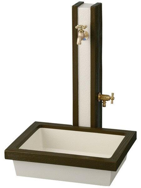 立水栓 水栓柱 ガーデニングアーバン立水栓 ウッド ダークブラウンセット プラグ付 水回り ガーデン水栓柱 DIY