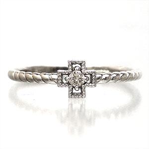 【送料無料】ダイヤモンドリング クロス K10ゴールド ピンキーリング 指輪【コンビニ受取対応商品】  クリスマス プレゼント