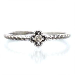 【送料無料】ダイヤモンドリング K10ゴールド フラワー ピンキーリング 指輪【コンビニ受取対応商品】  クリスマス プレゼント