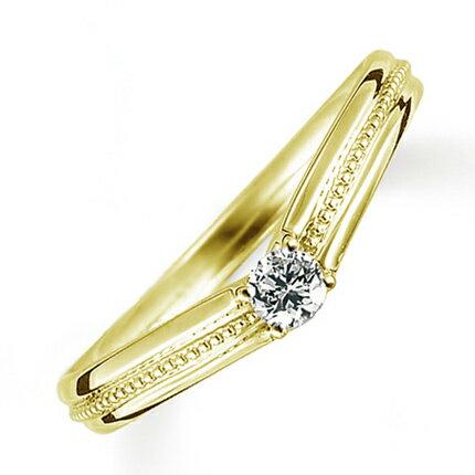 ペアリング(女性用) 結婚指輪 婚約指輪 マリッジリング K18イエローゴールド ダイヤモンドリング 0.1ct 《Proud M1036L》 【刻印無料 ケース付き 送料無料】 【RCP】 【532P17Sep16】