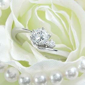 ダイヤモンド婚約指輪 サイズ直し一回無料  0.3ct F VS2 EXCELLENT H&C 3EX  アンシンメトリーライン6本爪D1 プラチナ Pt900 婚約指輪(エンゲージリング)