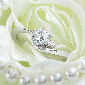 ダイヤモンド婚約指輪 サイズ直し一回無料  0.25ct F SI1 VERY-GOOD  アンシンメトリーライン6本爪ピンクD1 プラチナ Pt900 婚約指輪(エンゲージリング)