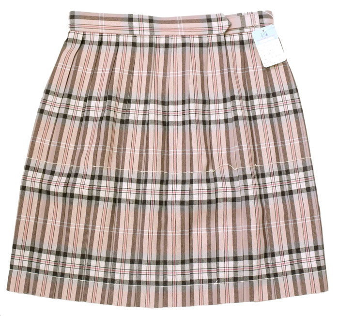 制服スカート【KR-374】丈48・W75/80/85 (KURI-ORIクリオリ/上品ピンクチェック)【送料無料】