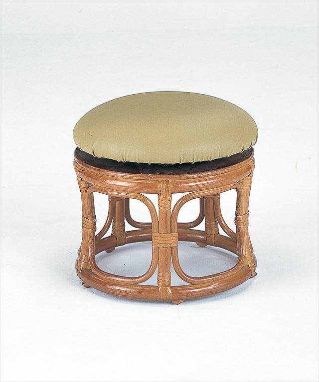 【送料無料】(回転スツール ロータイプ S-60)ブラウン 籐 籐家具 座布団 スツール 椅子 イス 回転式 和風リビングルーム籐(ラタン)製 輸入品 完成品 【smtb-MS】