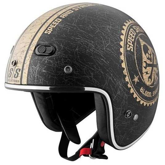 なんとヘルメットバックル付!日本未発売!限定価格!スピード&ストレングス SS600ジェットヘルメットスピードショップ マットブラック/ゴールド米国SS 希少!02P03Dec16