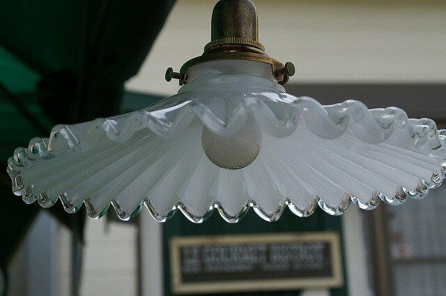 ミルクグラス ランプシェード フレンチ + 灯具   アンティーク風照明 ペンダントライト