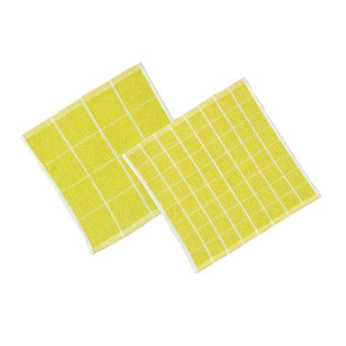 おしぼり 70匁黄格子柄 28×28cm 1200枚セット業務用仕様