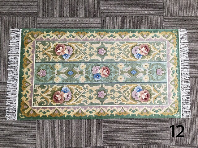 12高級手織り高級シルク緞通房あり玄関マットシルク 花柄緑 グリーン黄 イエロー約70x122cm
