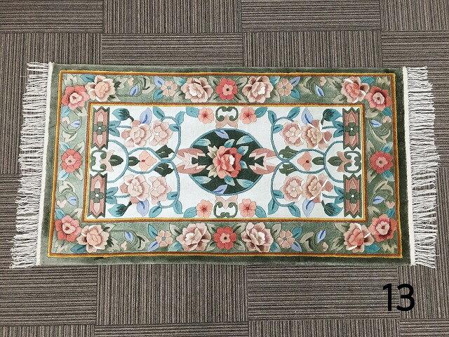 13高級手織り高級シルク緞通房あり玄関マットシルク 花柄緑 グリーン オレンジ約70x122cm