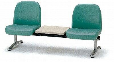 TOKIO【藤沢工業】 ロビーチェア(待合室用長椅子)背付テーブル付・ビニールレザータイプ 2人用 LA-2TL W1560xD630xH740mm