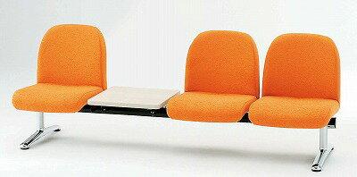 TOKIO【藤沢工業】 ロビーチェア(待合室用長椅子)背付テーブル付・布張りタイプ 3人用 LA-3T W2090xD630xH740mm