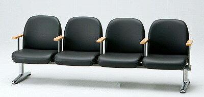 TOKIO【藤沢工業】 ロビーチェア(待合室用長椅子)背付肘付・ビニールレザータイプ 4人用 LA-4AL W2180xD630xH740mm