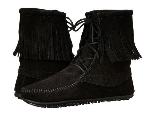 (取寄)ミネトンカ レディース トランパー アンクル ハイ ブーツ Minnetonka Women Tramper Ankle Hi Boot Black Suede