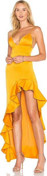 (取寄)ラバー  フレンズ レディース アハマニ ガウン イン マスタード Lovers + Friends women's Aahmani Gown in Mustard