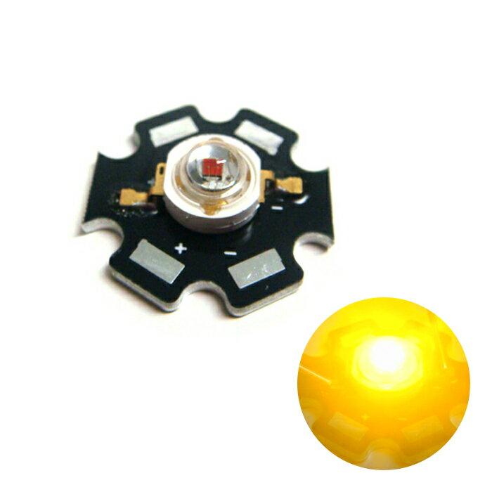 Kaito2415(100個) POWER LED 1W 黄色 Edison EDEA-1LA3 [星型ヒートシンク付]