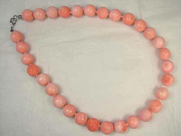■龍香堂■☆珍品!ピンク珊瑚 14mm玉ネックレス(a2)