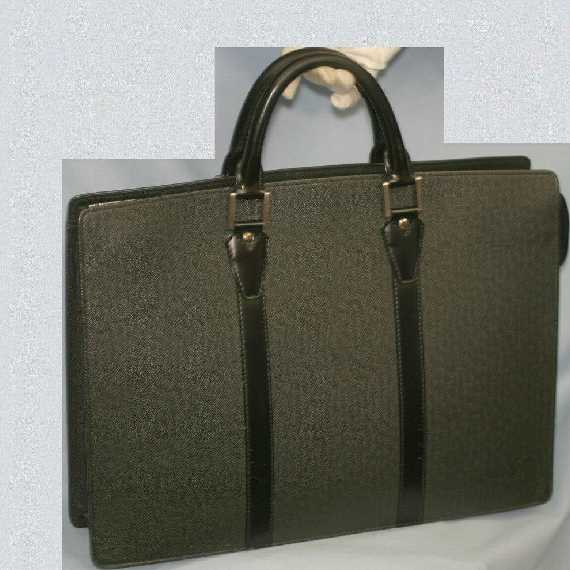 【中古】本物綺麗L/Vタイガの紳士用黒い42センチ書類鞄ポルトドキュマン・ロザンM30052