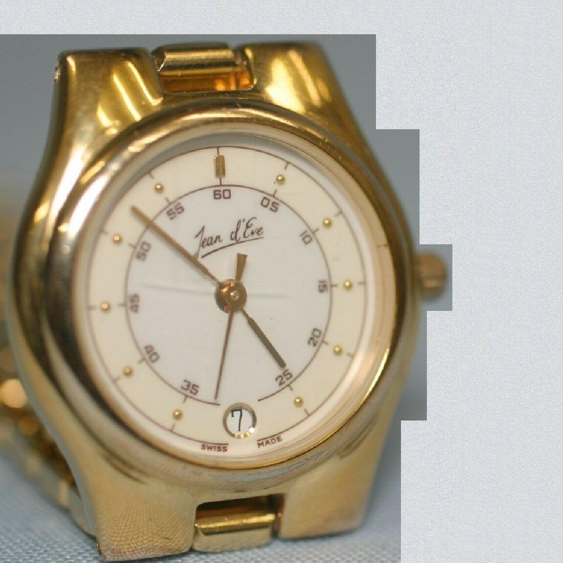 【中古】本物Jeand`Eveジャン,イブ紳士用丸いブレスタイプ金色時計電池交換済み