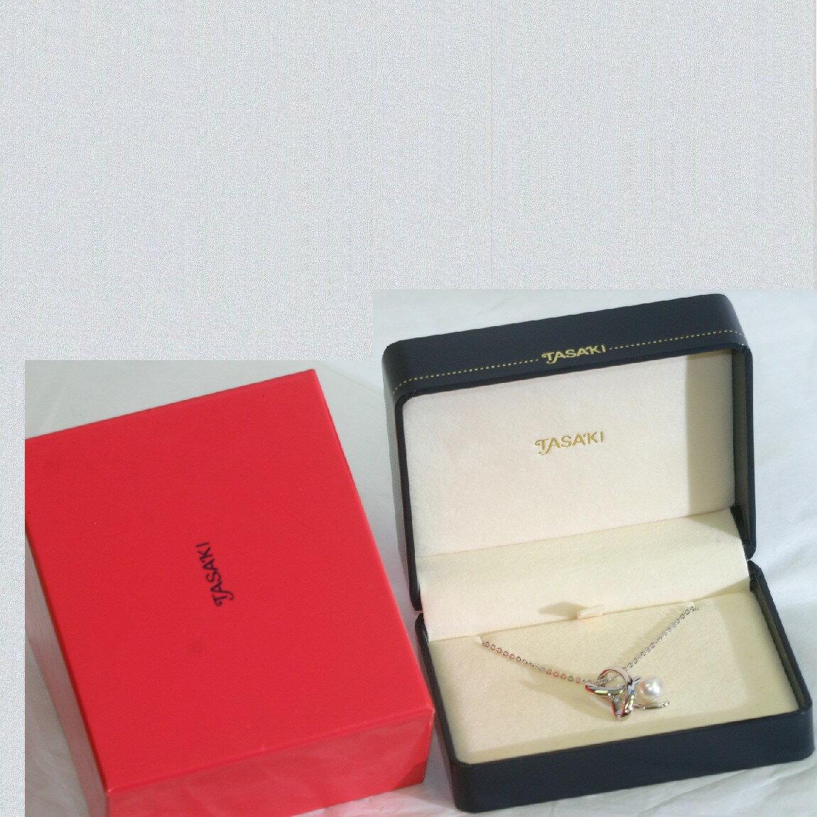 【中古】本物新品同様田崎の直径7mmのシルバーグレー色の真珠の付いたチェーンネックレス