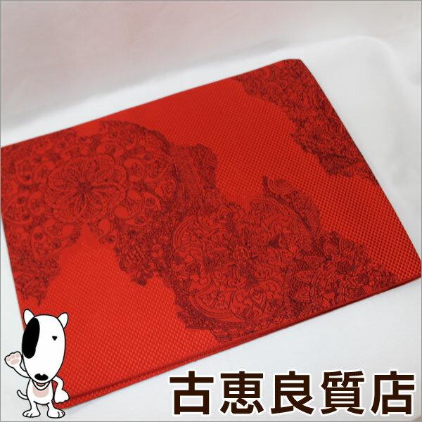 【HK】【中古】名古屋帯 赤地に華文柄 リサイクル 幅:約31cm 長さ:約332cm【質屋出品】【あす楽】【展示品】