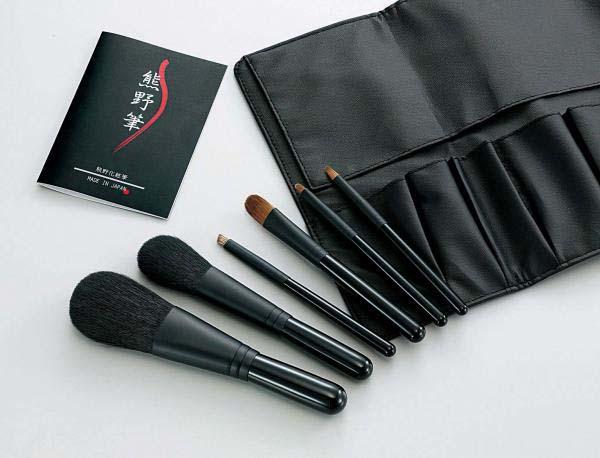 Kfi-K206 熊野化粧筆セット 筆の心 ブラシ専用ケース付き