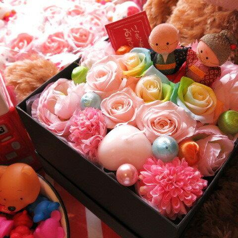 敬老の日プレゼント 花 フラワーギフト 箱を開けてサプライズ おじいちゃん おばあちゃん入り ボックス レインボーローズプリザーブドフラワー入り