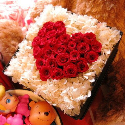 ホワイトデー お返し 花 プレゼント ハート プリザーブドフラワー 箱を開けるとサプライズ 箱一面お花がいっぱいの スマイル ハート フラワーギフト
