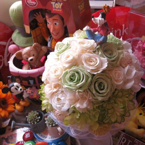 ディズニー 結婚式 グーフィー入り プリザーブドフラワー ブーケ アートフラワー系使用 結婚式 ブーケ