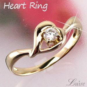 K18 ゴールド 一粒石 ハート リング ダイヤモンド リング 誕生日 プレゼント 指輪  【K18WG】【K18YG】【K18PG】 【送料無料】