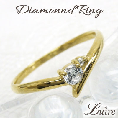 2016AW K18 ゴールド 華奢 リング 【誕生石】ダイヤモンド ミディリング ファランジリング 誕生日 プレゼント 自分ご褒美