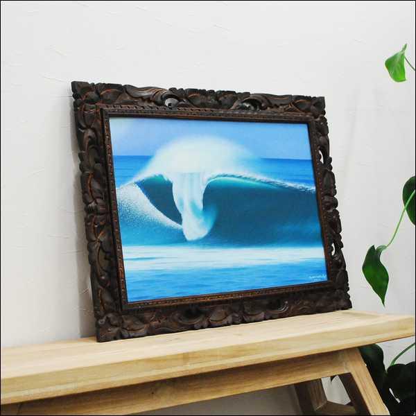 【バリ絵画】Goes&Windy作 波の絵 size額73x53Cm バリアート/アジアン雑貨/バリ雑貨/ウィンディー/リゾートインテリア/バリ絵画