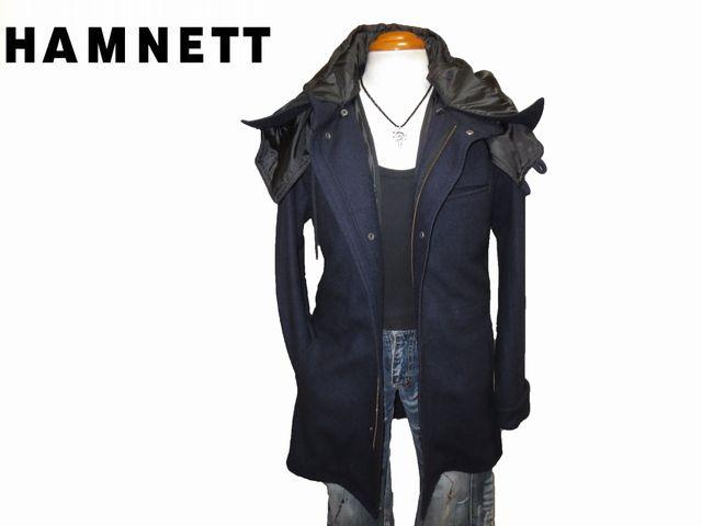 ◆新品 ハムネット ライナー付きウールフーテッドコート