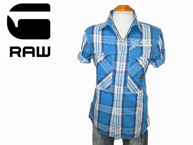 の割引を提供しています。 ◆新品 ジースターロウ 半袖シャツ チェック青 サイズM■g060752