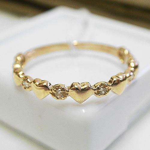 小さな ハート ダイヤモンド・K18 ピンクゴールド リング【楽ギフ_包装】【smtb-TD】【saitama】