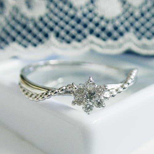 0.1ctダイヤモンド K18ホワイトゴールドダイヤモンドリング【smtb-TD】【saitama】【楽ギフ_包装】