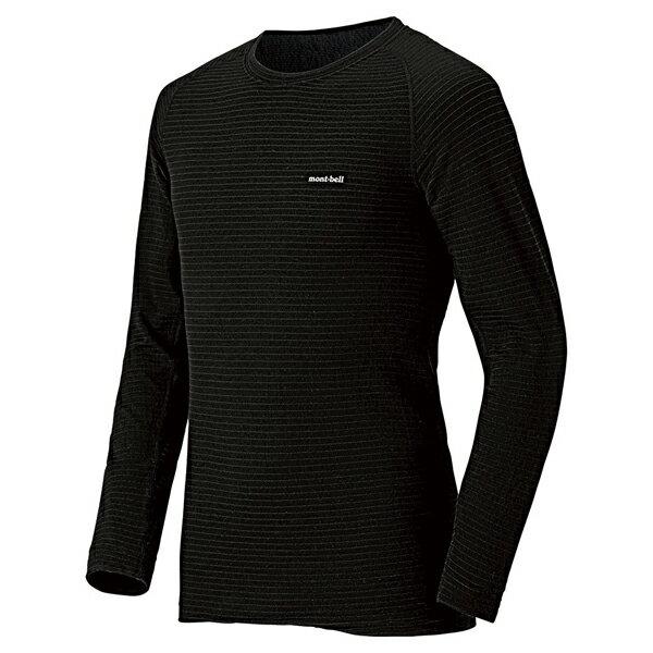 mont-bell(モンベル) SPMW EXP. Rネックシャツ MS/BK/L 1107581男性用 ブラック トップス メンズインナー スポーツ用インナー 男性用インナー 長袖シャツ アウトドアウェア