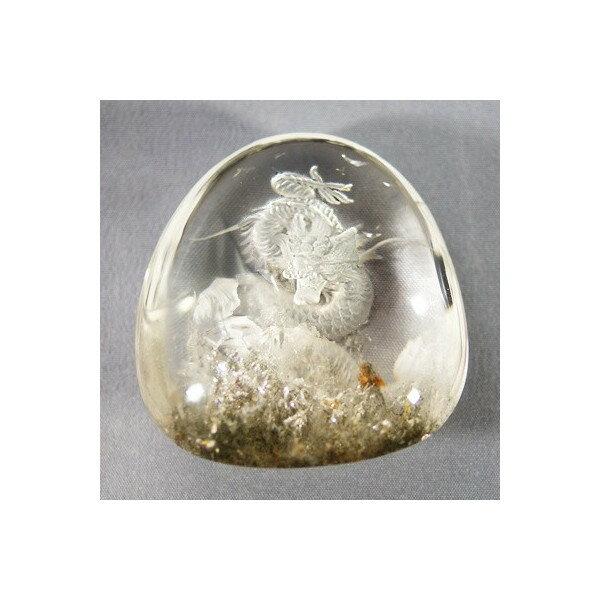 原石 ファントム水晶彫刻置物 龍レインボー入り  台付き高さ96mm