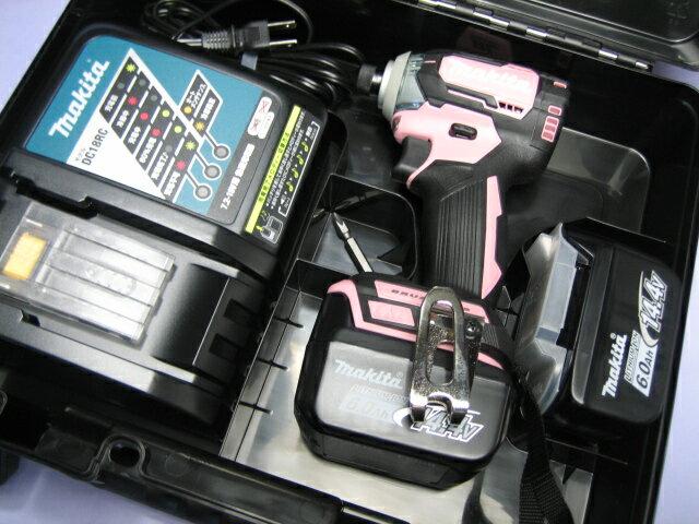 マキタ充電インパクトドライ� TD160DRGX (ピンク) 14.4V �ッテリー(6.0Ah)2個・充電器・ケースセット