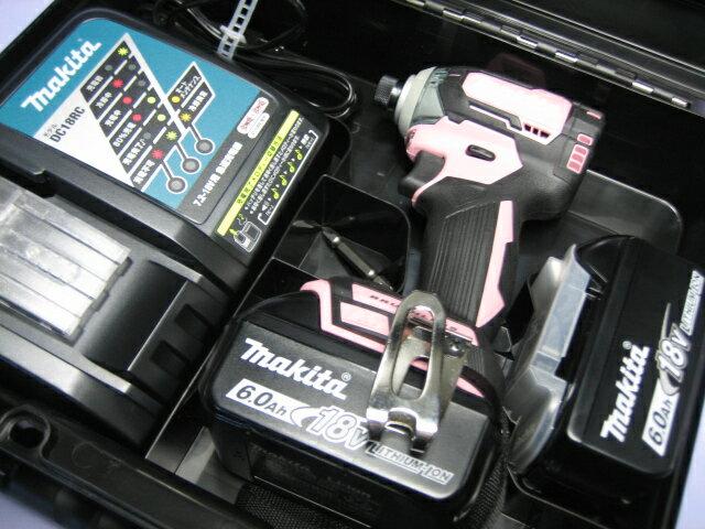 マキタ充電インパクトドライ� TD170DRGX (ピンク) 18V �ッテリー(6.0Ah)2個・充電器・ケースセット