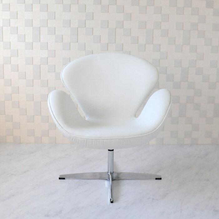 スワンチェア /レザー仕様/カラー ホワイト 白/座り心地は極上!1台1台職人による手作り・手縫い仕上げ アルネ・ヤコブセン作 リプロダクトの傑作 新品 suwan chair red Arne Jacobsen イス いす 椅子 パーソナルチェア カウンターチェア