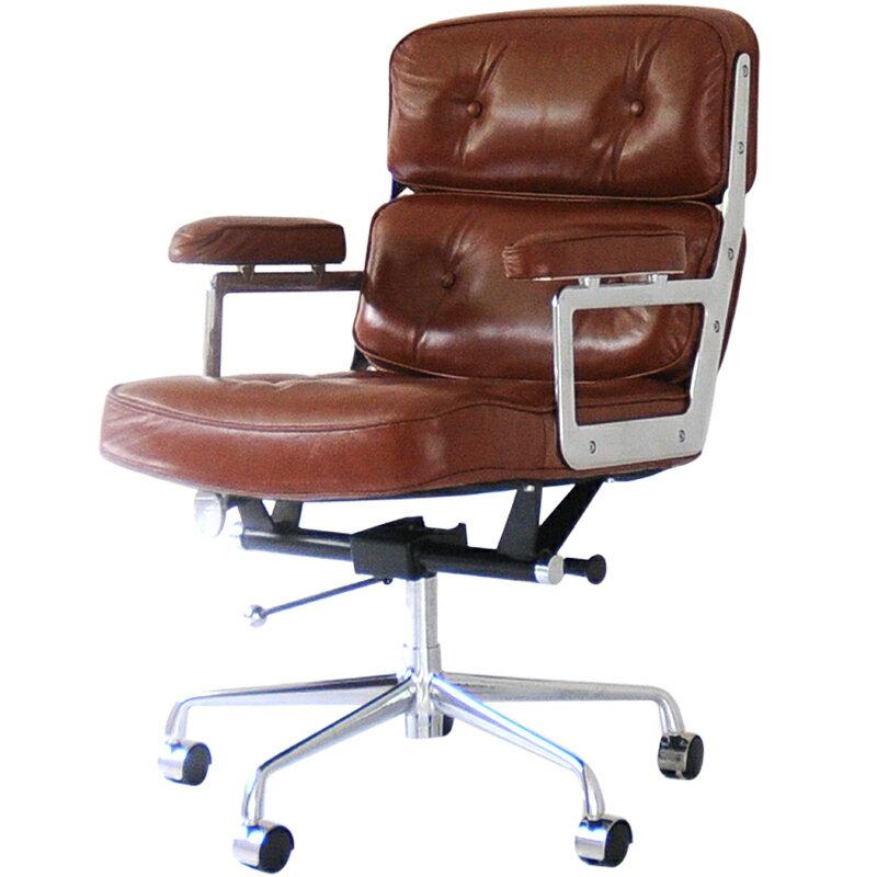 【12月中旬頃入荷予定 予約】イームズ タイムライフエグゼクティブチェア ブラウン 総本革×アルミ チャールズ&レイ・イームズ Charles Ray Eames パーソナルチェア リラックスチェア 椅子 オフィスチェア パソコンチェア officechair