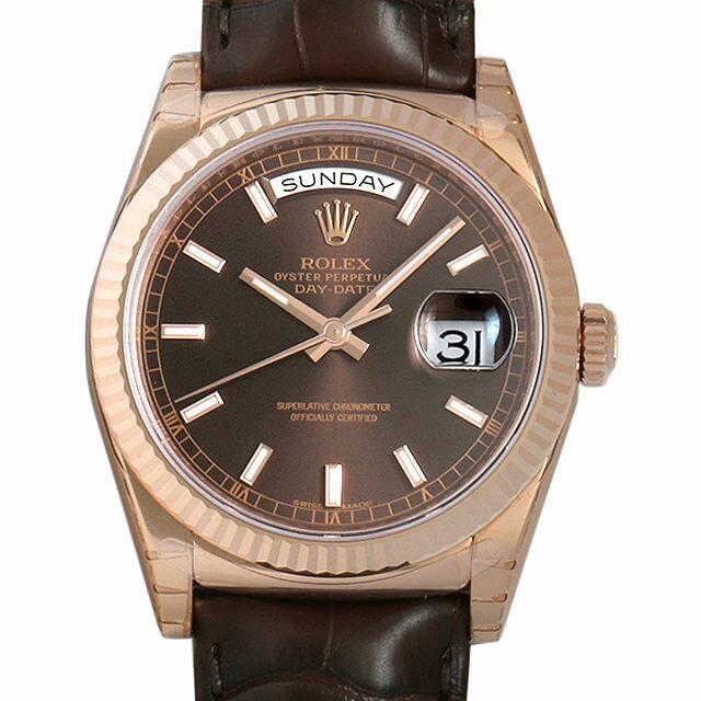 ロレックス デイデイト 118135 チョコレートブラウン メンズ(008WROAN0011)【新品】【腕時計】【送料無料】