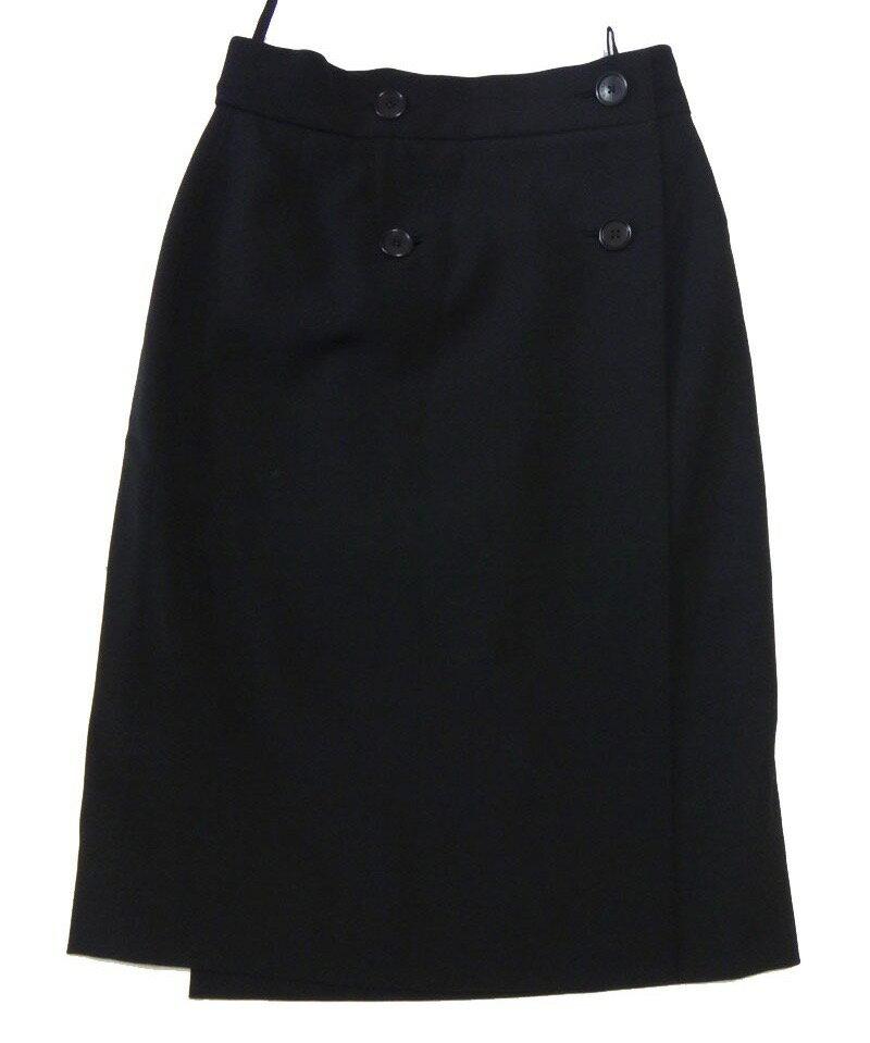 HERMES エルメス 黒 タイト 巻きスカート 36サイズ 美品 古着【中古】h-003